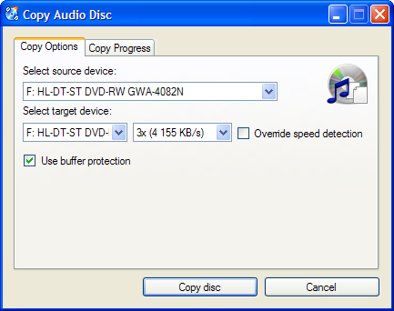 Screenshot: Copy audio disc Options