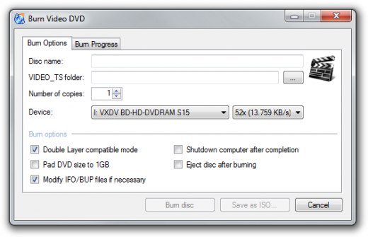 Screenshot: Video Burning Dialog