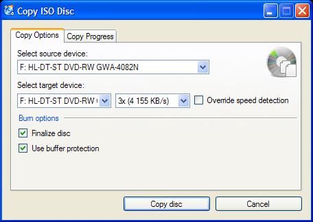 CDBurnerXP: Copy Data Disc