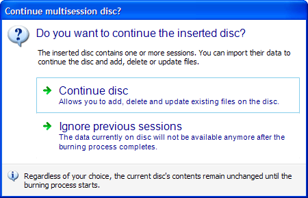Screenshot:Multisession Disc