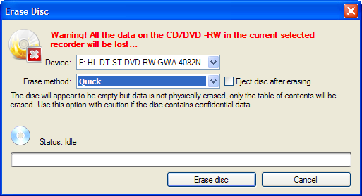 how to erase a cd-r on windows 7