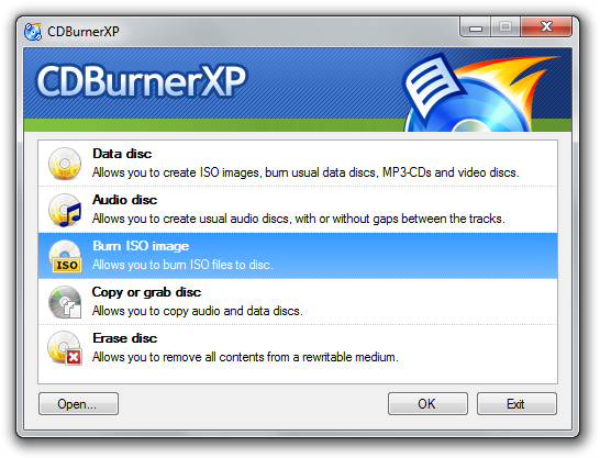 CDBurnerXP freeware screenshot